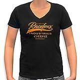 RACEFOXX V-Neck T-Shirt LADIES schwarz, Druck neon orange, Größe S