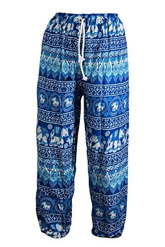 Wohlfühlhose in vielen verschiedenen Ausführungen mit Zuziehschnurr, Freizeithose, Wohlfühlhose Festival Joga Schlafanzug Balloonhose bequeme Schlabberhose A ELEFANT Blau