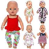 ZITA ELEMENT 5 Set Puppenkleidung Bekleidung Zubehör für 35-46cm Babypuppe Puppen Kleider Onesies...