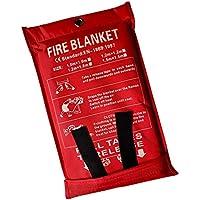 Lonnsaffe Mantas ignífugas Manta ignifuga Manta de Emergencia contra Incendios Manta de Supervivencia Cubierta de Seguridad Ideal para Cocina, Chimenea, Parrilla, automóvil, Camping (2.0x2.0m)