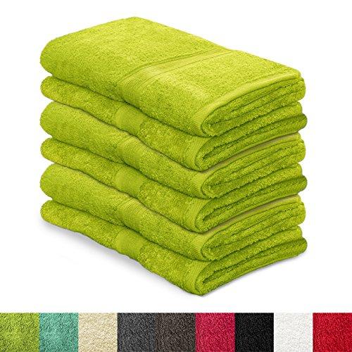 6 tlg. Set Gästehandtücher / Gästetücher MAGIC SOFT   ÖKO TEX Standard 100   Premium-Qualität   30x50 cm  kleine Handtücher für Gäste, Kinder, Fitness, Sport   viele Farben   grün