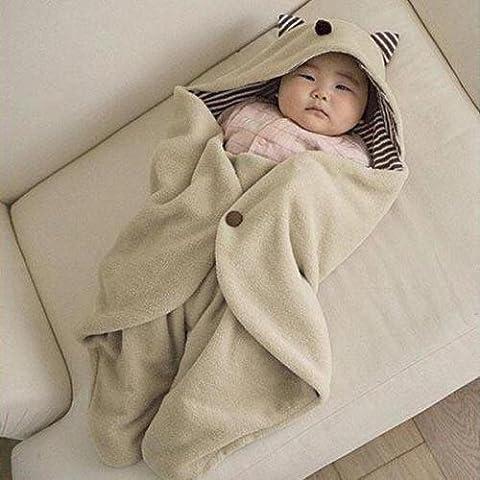 Uctop Store Infant Baby Swaddle Couverture chaude en polaire à capuche Wrap Sac de couchage multifonction