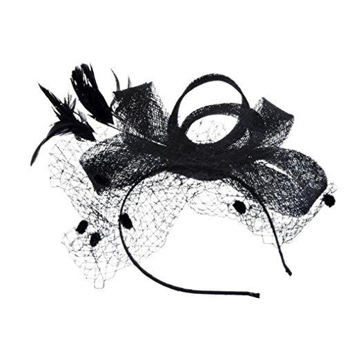 me Mesh Bänder Federn Hochzeit Party Kopfbedeckung Hut für Mädchen und Frauen Kostüm Karneval Fasching (Schwarz) (Mesh Samt Kostüme)