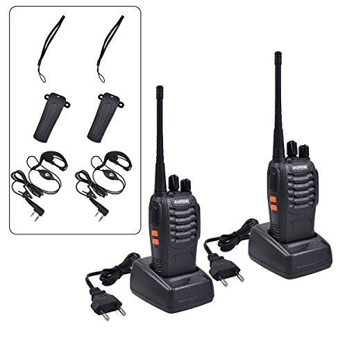 Upgrow 2x Baofeng BF-888s Funkgeräte Set Walkie-Talkie Funksprechgeräte 16 Kanäle 5KM Reichweite CTCSS/DCS 400-470MHz Radio Handfunkgerät Mit Wiederaufladbar Akkus und Headset (mit Headset)