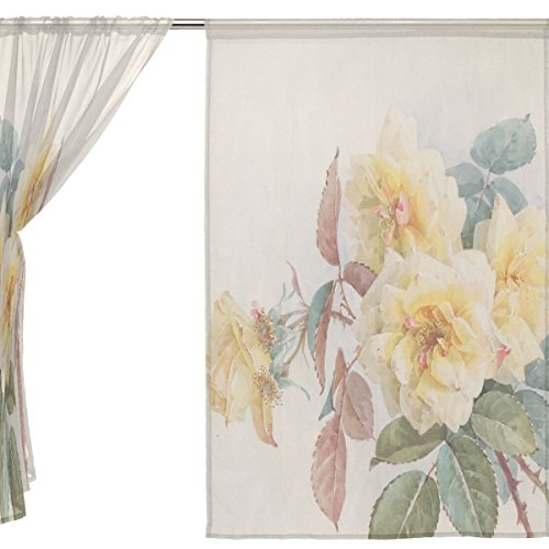 jstel Voile tenda di finestra stile vintage shabby chic, 2 pezzi Giallo Rosa Floreale, Tulle Sheer Curtain Drape Valance 139,7 x 198,1 cm Set di due pannelli, Poliestere, Blue, 55x84x2(in)