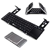 Faltbare Bluetooth Tastatur, EC Technology Portable Faltbare Wireless Keyboard mit Multi Touchpad, Halter, Touch Keyboard Kompatibel für Android Windows iOS - Silber