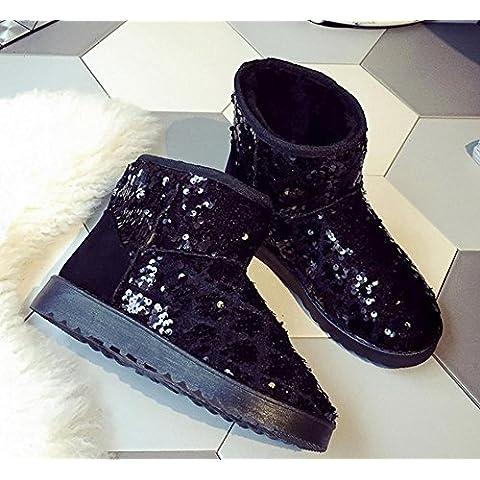 Zapatos de la nieve invierno lentejuelas tubo corto chicas grueso invierno cálido botas botas para la nieve nuevas , black , 39