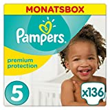 Pampers Premium Protection Größe 5 (Junior) 11-23 kg Monatsbox, 1er Pack, 1 x 136 Windeln