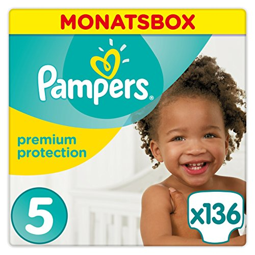 Pampers Premium Protection Windeln Gr. 5 Junior (11-23 kg), Monatsbox, 1er Pack (1 x 136 Stück)
