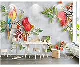 Tapete der Tapete 3D handgemaltes pastorales Wind-Granatapfel-Papagei-Hintergrund-Wand-Wohnzimmer-Schlafzimmer Fernsehhintergrund