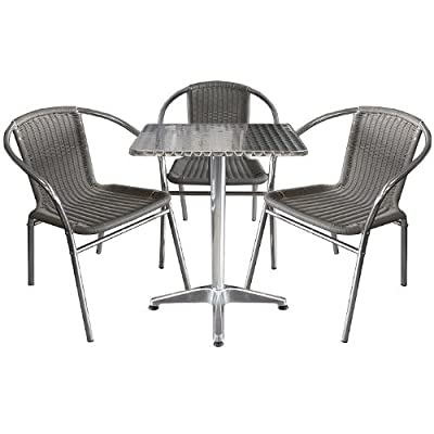 4tlg. Bistroset Gartenmöbel Terrassenmöbel Aluminium-Bistrotisch 60x60cm + 3x Poly-Rattan Stapelstuhl Bistromöbel Balkonmöbel Gartengarnitur Sitzgarnitur Sitzgruppe