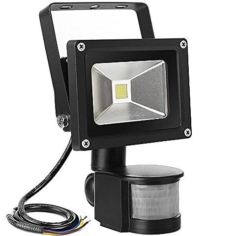 LED Fluter mit Bewegungsmelder, ABelle 10W Wasserdichte PIR Sensor Sicherheitsleuchten, 6000K Tageslicht Weiß, 760 Lumen, LED Flutlicht Dekoration Spotbeleuchtung für Hof, Garten, Garage, Keller, etc.