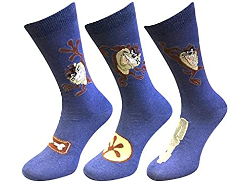 Three pack Taz Looney Tunes cotton rich novelty Socks 6-11 EUR 39-45