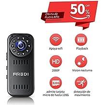 FREDI Cámara Espía HD 1080P Mini Cámara Oculta Portátil Interior/Exterior WiFi Cámara IP de Seguridad Admite tarjeta hasta 128G(no incluye) / (versión actualizada) Vision Nocturna Cámara de Vigilancia