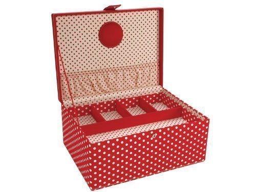 London Clock 82316 série à couture avec motif à pois, poignée, compartiment Compartiment intérieur amovibles, plastique et aiguille Coussin intérieur, 31 x 23 x 14,5 cm, rouge/blanc