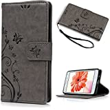 A5 2015 Version Coque,Lanveni Coque Housse Étui à Rabat PU Cuir Bookstyle Portefeuille Universelle Flip Cartes Slots Wallet Support Phone Case Protection de Téléphone pour Samsung Galaxy A5 2015 Version Fleur Imprimée - Gris