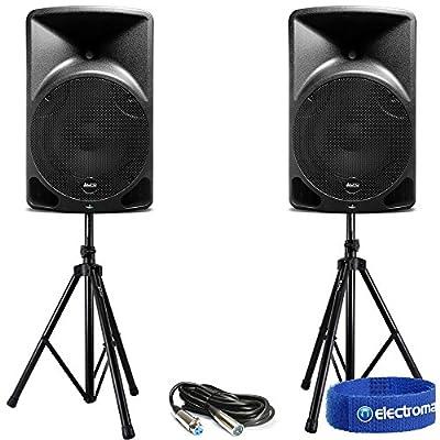 "Pair Alto TX12 12"" Active Loud Speakers + Stands Mobile DJ Disco Bar PA 1200W"
