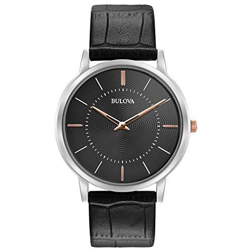 Bulova Ultra Slim 98A167 - Herren Designer-Armbanduhr - Armband aus Leder - - Grau Bulova Uhr Herren