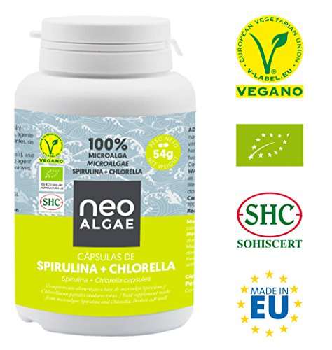 Spirulina and Chlorella in Capsules | Production 100% Organic | Spirulina and Organic Chlorella | Taken Together Powerful Detox and Antioxidant Effect | 350 mg per Capsule | 120 Capsules | Neoalgae
