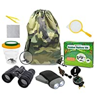 Genround Outdoor Explorer Kit Gifts Toys, 3-10 Years Old Boys Childrens Kids Outdoor Adventure Exploration Set incl Binoculars,Flashlight, Compass,Whistle,Magnifying Glass,Tweezer,Bug Viewer,Backpack