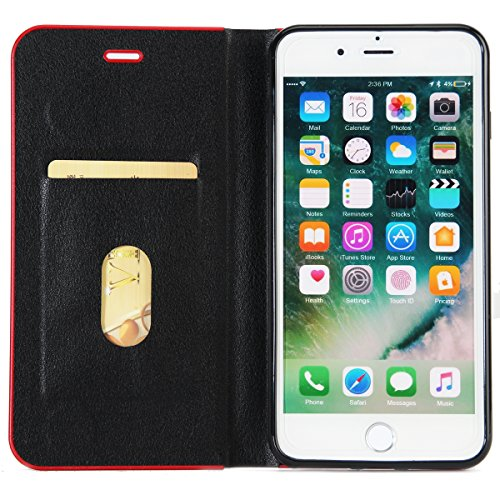 JAWSEU Coque Etui pour iPhone 7 Plus,iPhone 7 Plus étui Folio en Cuir,iPhone 7 Plus Flip Wallet Case Portefeuille Pu Housse de Protection,Retro Luxe Fermeture Magnétique Intense Pure Leather Pu Case C Noir/Magnétique