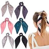 DRESHOW 6 Stück Haargummis Satin Seide Elastische Haarbänder Haarschal Pferdeschwanz Halter Haargummis Vintage Accessoires für Frauen Mädchen