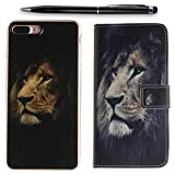 Lotuslnn iPhone 6 Hülle Leder Wallet Case Cover, Apple iPhone 6 / 6s Schutzhülle Silikon [2 Phone Cases+Stylus Stift Included]-Lion Black