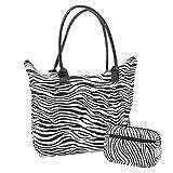 Señoras Mujeres Playa Compras Bolso Animal Print y pequeños Animales Imprimir Bolso cosmético Conjunto (Patrón de Cebra)