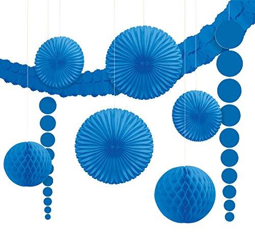 Amscan 243568-105-55 - Hängedekoration Set, 9 teilig, royal blau (Blau Royal Hängen)