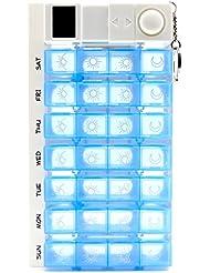 PuTwo Digital de 7 días pastillero 28 compartimentos con 4 temporizador alarma recordatorio de medicación píldora píldora Organizador de pastillas, color azul