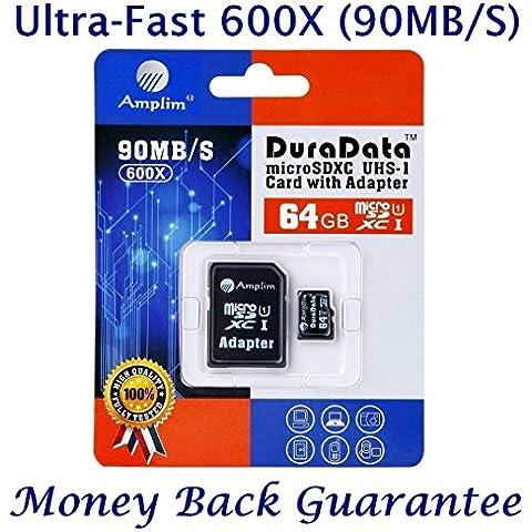 Tarjeta MicroSDXC 64GB y adaptador (Clase 10 UHS-I Micro SD Extreme Pro Memoria Card) 64 GB MicroSD SDXC de ultra alta velocidad 90 MB/s 600X UHS-1. Transflash de Amplim® para móvil y tablet (TF Plus)