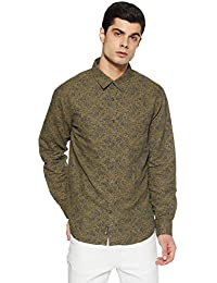 BUFFALO By fbb Men's Printed Regular Fit Casual Shirt (1000857504_Olive_Large)