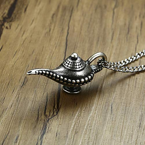 Vintage Edelstahl Aladdin Es Genie Magic Lamp Inspired Pendant Halskette For Men Arabian Nights Charm Special Jewelry 24 In