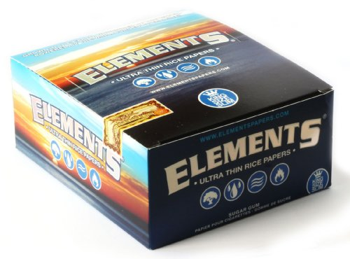 1 Box Elementi Slim King Size Ultra Thin Rice Cartine - Totale 1600 Papers