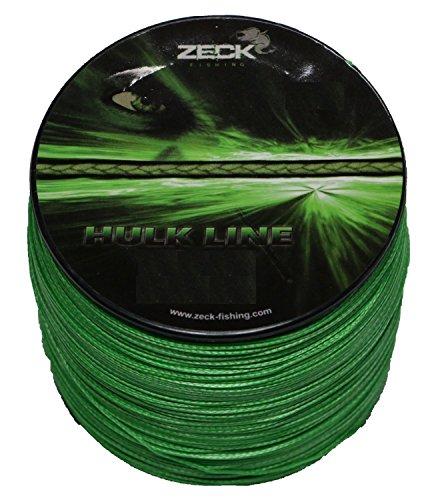 Zeck Hulk Line 0,55mm 50kg 300m, geflochtene Schnur zum Welsangeln, Welsschnur, Wallerschnur, grüne Angelschnur (Angelschnur Grün Geflochtene)