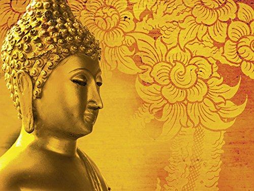 Artland Qualitätsbilder I Glasbilder Deko Glas Bilder 80 x 60 cm Fantasy Mythologie Religion Buddhismus Foto Rot A7RK Buddha Goldstatue Thailand