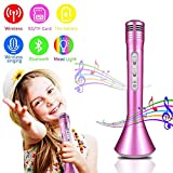 Kids Karaoke Microphone, leegoal Wireless Handheld Microphone KTV with Bluetooth Speaker and LED Lights for IPhone/Android/PC/IOS/Smartphone, Home Party Outdoor Music Playing Singing, Dark Pink