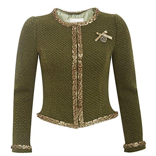 Krüger Collection Damen Trachten-Mode Trachtenjacke Kettl in Oliv Traditionell, Größe:44, Farbe:Oliv