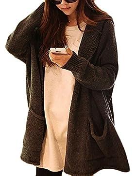 Minetom Mujer Invierno Mangas Largas Suelto Prendas De Punto Capa Suéter Chaqueta Capucha