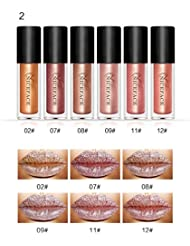 Rechoo Sexy 6 Stück/set Metal Glitter Wasserdicht Lippenstifte Liquid Matte Lip Gloss Durable Lip Liner Lippen Schönheit Lip Gloss #2