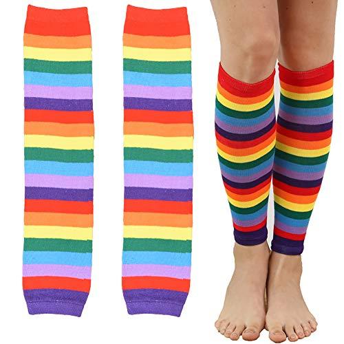 Hilai stivali Arcobaleno striscia colorata calze di cotone gamba copre i calzini molli per le donne delle ragazze