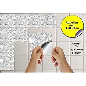 24 Fliesenaufkleber für Küche und Bad Mosaik Wandfliese Aufkleber für 10×10 cm Fliesen Fliesen-Aufkleber Folie Deko…
