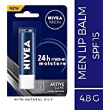 NIVEA MEN Lip Balm, Active Care No Shine (SPF 15), 4.8g