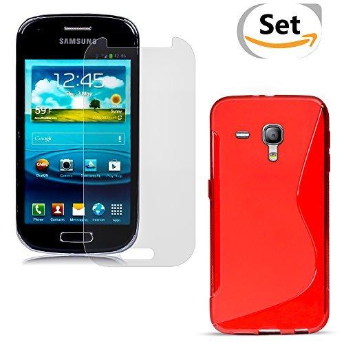 Conie SE333266 2er Set 9H Folie + S Line Case Kompatibel mit Samsung Galaxy S3 Mini, Handyhülle Set bestehend aus Folie Panzerglas & TPU Silikon Hülle für Galaxy S3 Mini Set Design Rot