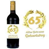 SHIRT-TO-GO Flaschenetikett zum 65. Geburtstag für Wein und Sektflaschen als Geschenkidee zum 65. Geburtstag
