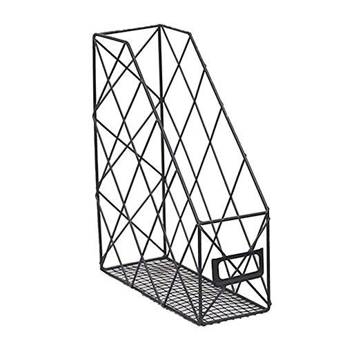 KATURN Eisen Draht Metall Magazin Rack Papier Datei Desktop-Datei Lagerung Organizer Ablage für Büro, Zuhause, Schule (schwarz) -