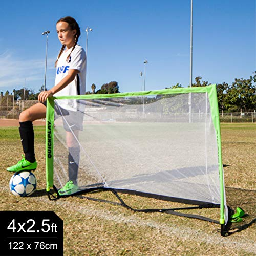 QUICKPLAY POP Goal with Real Football Goal Mouth Shape - 10 Second Set-Up with Easy to Carry Slim Line Bag [Single Goal] – New for 2018