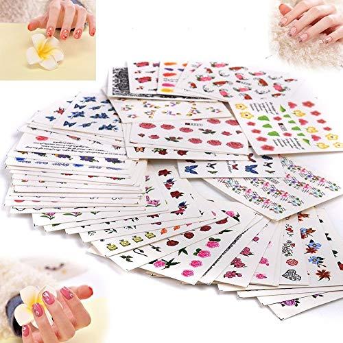 50 Stück Nail Art Plates Stamping Water Transfer Nagel Sticker Wasser Aufkleber Tattoo Nageldesign Maniküre Vanyda Stempel Schablonen -