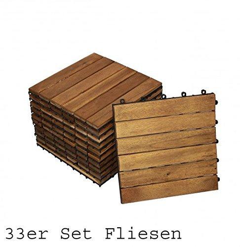 SAM® Terrassenfliese 01, Holz-Fliese aus Akazie, geölt, 33 Fliesen für 3 m², 30x30 cm, Garten-Fliese, FSC® 100% zertifiziert, Bodenbelag mit Drainage, Klick-Fliesen für Balkon Garten Terrasse