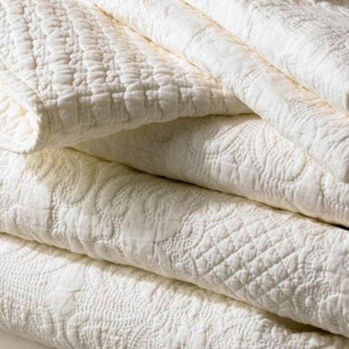 Sashi Bed Linen Havana Embossed 100% Cotton Quilted Bedspread, Warm Cream, Double